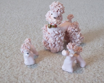 Vintage Set of Pink French Spaghetti Poodle And 2 Little Puppies, 1950s Ceramic Pink Poodles