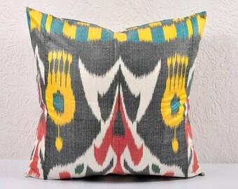 Ikat Pillow, Hand Woven Ikat Pillow Cover IP98 (A529-1AA3), Ikat throw pillows, Designer pillows, Decorative pillows, Accent pillows