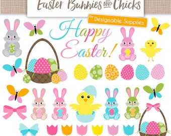 Easter Clipart - Easter Bunny Clipart, Easter Egg Clipart, Easter Chick, Flowers, Butterflies, Bunnies, Chicks, Eggs, Easter Patterns