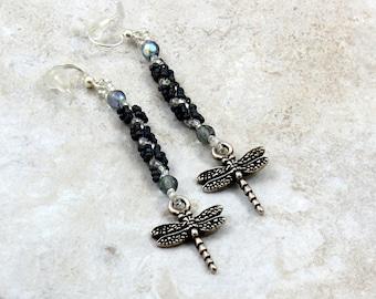 Dragonfly Earrings - Beaded Earrings - Blue Dangle Earrings - Beadwork Jewelry - Seed Bead Jewelry - Handmade Jewelry