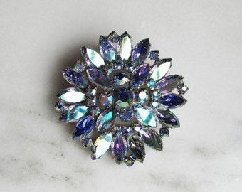 Vintage Blue Aurora Borealis Rhinestone Brooch