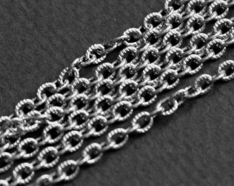 Stainless steel texture cable chain 4x3mm -unsolder links 10ft