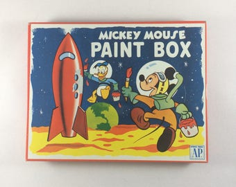 Vintage Mid-Century Atomic Age 1952 Walt Disney Mickey Mouse Litho Tin Paint Box (Unused)