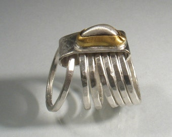 Here I Am - silver nugget set in gold on hammered silver bands