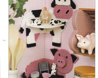 Animal Cornershelves ~   plastic canvas pattern