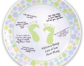 Baby Shower Autograph Plate, guest book, memory plate, signature platter, keepsake gift, signature plate