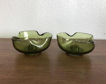 Pair of Green Art Glass Candlestick Holders