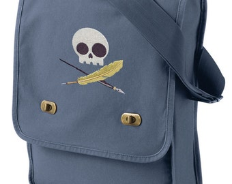 Skully Writer Embroidered Canvas Field Bag