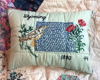 Wyoming State Pillow, Handmade, Re-purposed Vintage Quilt Block, One of a Kind State Pillow, Rustic Farmhouse Cottage Decor, Embroidered