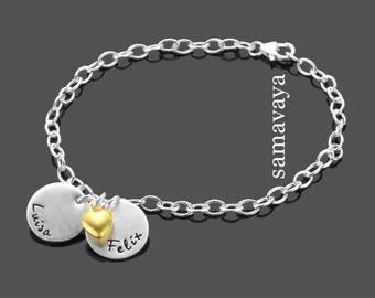 Bracelet with engraving mon amour 925 silver name bracelet partner Jewelry Love Heart