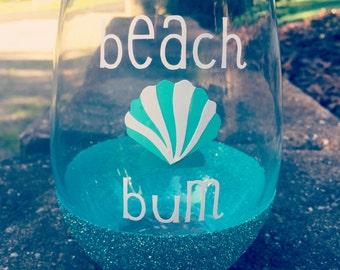 Beach Bum Wine Glass, Glitter Dipped Wine Glass, Glitter Dipped, Beach Wine Glass, Stemless Wine Glass, Summer Wine Glass, Summer Wine Gift