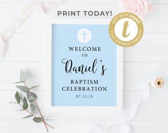 Baptism Welcome Sign Template, Custom Baptism Sign, Baptism Boy, Baptism Decorations, Baptism Printable, Baptism Celebration, Christening