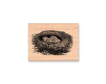 BIRD NEST Rubber Stamp~Two Styles~Birds Nests~Robin Nest~Bird Eggs~Baby Birds~Spring Nest~wood mounted ( sm 30-11)(lg 36-12)