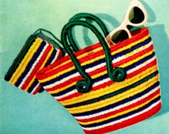 Striped bag and Purse Vintage Crochet Pattern