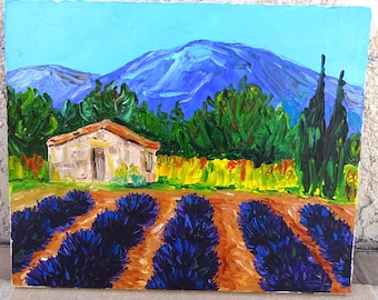Small house in Provence - painting oil on canvas, knife painting