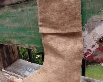 Pack of 6 - Natural Burlap Christmas Stocking 16 inch - Free Shipping