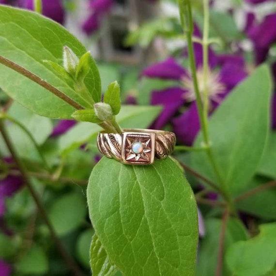 Antique Victorian 10k rose gold opal carved band ring, size 6-1/2, signed JR Wood