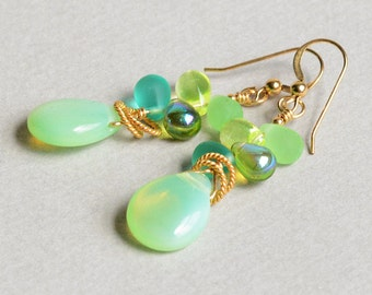 Sea Dreams Earrings - Green and Gold Earrings - Green and Aqua Earrings - 14K Gold-Filled - by Happy Shack Designs