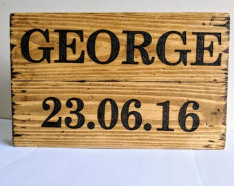 Chunky Rustic Solid Wood Personalised Sign, Name Block, Name Plaque