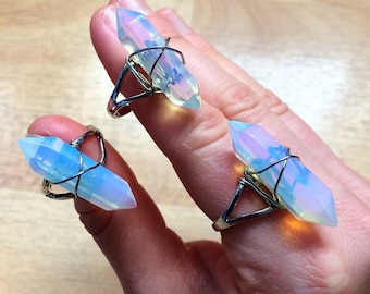 Double Pointed Opalite Crystal Silver plated adjustable Ring