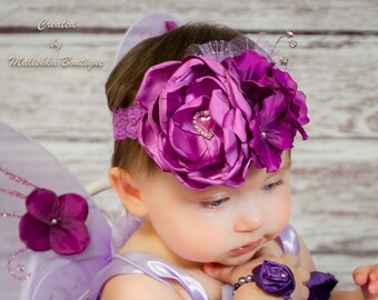 Ultra Violet Purple Headband, Plum Large Over the Top, Baby Girl Fabric Singed Flower, Glitter Tulle, Rhinestones First Birthday Outfit Lace