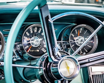 Classic Vintage Car Dashboard Art Print Wall Decor Image Unstretched - Unframed Canvas