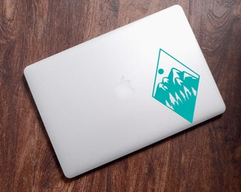 Mountain Glossy Vinyl Decal, Mountain Scene, Adventure, Hiking