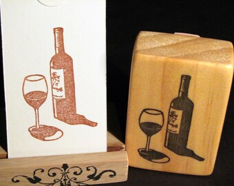 Wine Bottle and Glass, Hand Carved Stamp