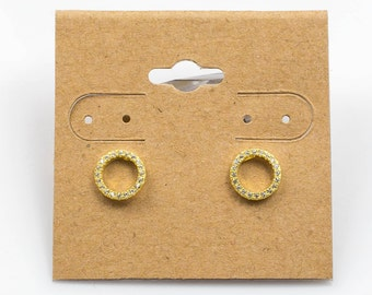 Circle Sterling Silver Earring- Stud- Gold or Gunmetal- High Quality Micro Pave-Dainty and Light-2183
