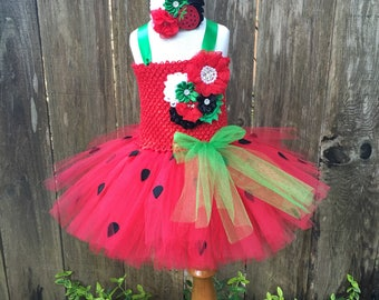 Strawberry tutu dress - strawberry costume - strawberry dress - girls party dress- gifts for girls - strawberry tutu - tutu dress - dress up
