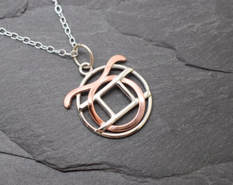 Taurus Gemini necklace sterling silver and polished copper