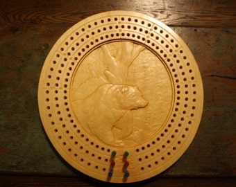 Cribbage Board CNC Carved CribBoard  Cribbage Game Board Bear Woods Pine