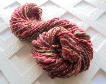 ENGLISH COUNTRY DANCE Bulky Handspun Yarn, Silk Yarn, Merino Yarn, Knitting Yarn, 2-Ply Handspun, Elegant Yarn, Red Handspun Gold Muga Yarn