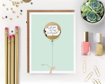 """Scratch-off """"Be My Bridesmaid?"""" Card // Ask Bridesmaids, Maid of Honor Card, Bridesmaid Proposal, Bridesmaid Box // Mint & Gold Balloon"""
