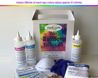 Your Rainbow Tie Dye Kit 3 rainbow colours professional fabric dyes for bright long lasting colours made in Australia
