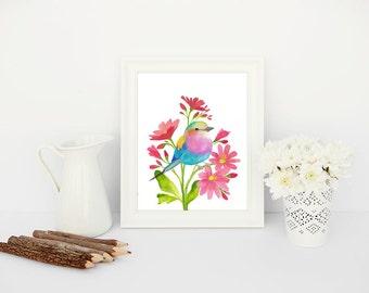 Printable Bird Wall Art, 8x10 Printable Art, Colorful Painted Bird Printable, Bird Art Printable, Wall Art Bird Print, Lilac Breasted Roller
