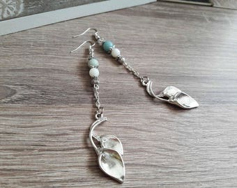 Earrings amazonite and mother of Pearl - water disorders