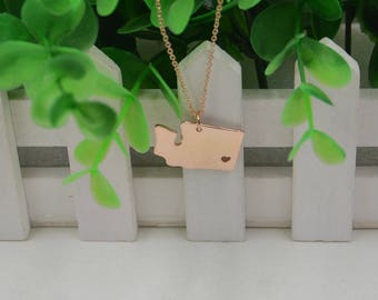 State necklace-rose gold best friend necklace-personalized state jewelry-Washington State Necklace