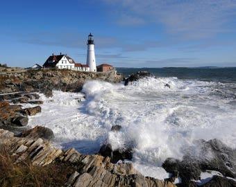 Portland head light, lighthouse, Maine, waves, ocean, sea, Portland head, Maine lighthouse, Portland Maine, lighthouse art, lighthouse print