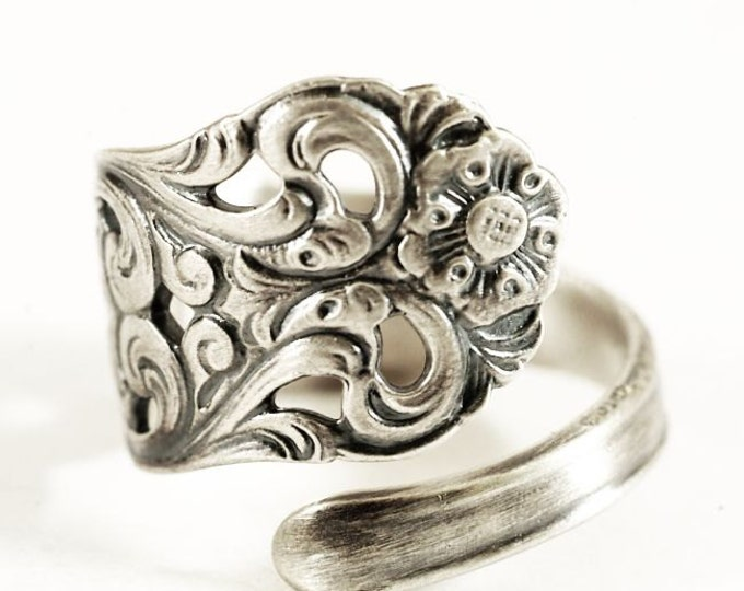 Nordic Spoon Ring, Swirl Ring, Vintage Nordic Design, Sterling Silver Spoon Ring, Norse Ring, Handmade Gift Her, Adjustable Ring Size (8000)