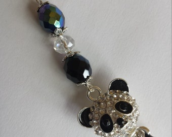 "1 pendant ""panda black and white enamel and rhinestones and glass pearls"" - 2.3x8cm"