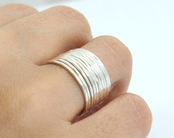 Sterling Silver Stacking Rings - 14K Gold Plated Ring - Gold Hammered Ring - Main material Sterling Silver - Stackable Ring