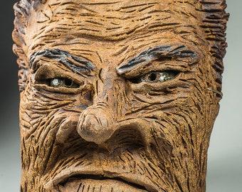 Evil Nixon ceramic sculptural mask