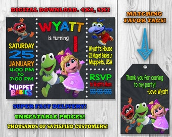 Muppet Babies Invitation, Muppet Babies Birthday Party, Muppet Babies Favor Tags, Muppet Babies Invite