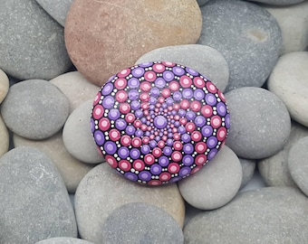 Pink & Purple Mandala Stone - Painted Rock - Painted Stone - Meditation Mandala Rock - Dot Art - Chakra - Paperweight