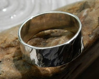 Sterling Silver .925 Ring Textured Band Size 7 1/4 Hand Soldered and Forged