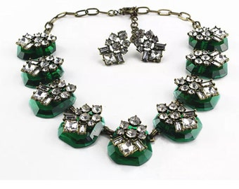 Bohemian Green Vintage Inspired Brass and Crystal necklace set,Crystal statement,Green Necklace set, Crystal pendant necklace,