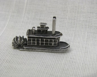 """Dollhouse Miniature Pewter River Boat by Barbara Ann  Meyer  1"""" Scale. (M)"""