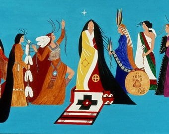 "Giclee Print Fine Art Paper Native American Print Surreal Print Metaphysical Print ""The Nine Muse"""