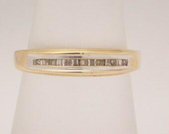 "0.15 Carar T.W. ""MOM"" Ring Baguette & Round Cut Diamond Band 14K"